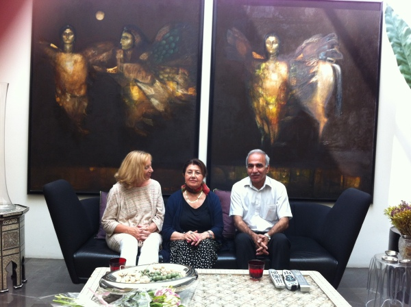Jenny, Suad al Attar and Adnan al Sayegh at a meeting with the artist in London on 18 July.